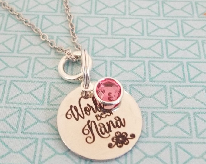 Personalized Necklace, Gift for Nana, Grandmother Gift, Birthstone Necklace, Silver Jewelry, Personalized Gift, Custom Jewelry, Gift for Her
