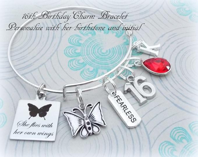 16th Birthday Gift for Girl, Sweet 16 Charm Bracelet, Gift for 16th Birthday, Personalized Gift for Teenage Girl,Custom Necklace for Girl