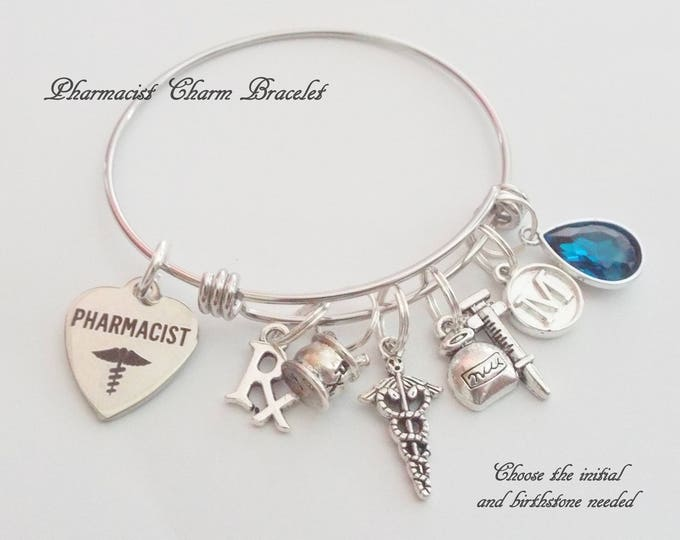Pharmacist Graduation Gift, Pharmacist Charm Bracelet, Gift for Pharmacist, Graduation Gift for Pharmacist, Gift for Graduating Pharmacist