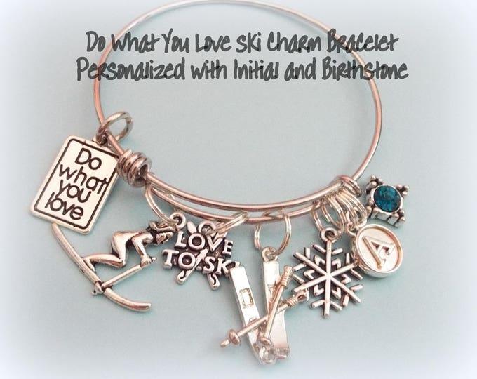 Gift for Skier, Ski Jewelry, Ski Charm Bracelet, Personalized Skier Jewelry, Handstamped Initial and Birthstone for Skiing Lover, Ski Bunny