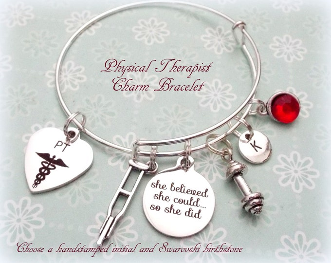 Physical Therapist Gift, Thank You Gift for Physical Therapist, Graduation for Physical Therapist, PT Charm Bracelet, Gift Ideas for Her