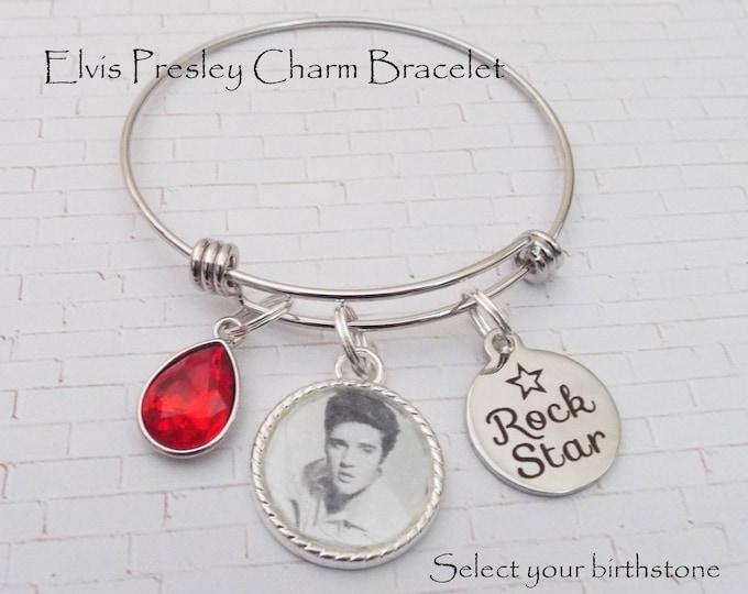 Elvis Presley Gift, Charm Bracelet, Elvis Fan Gift, Elvis Presley Fan Charm Bracelet, Gift for Elvis Fan, Gift for Her, Rock Star Bracelet