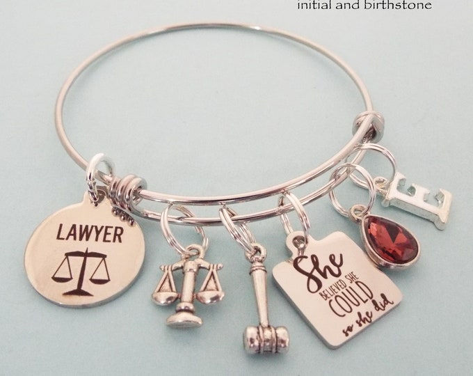 Lawyer Graduation Gift, Attorney Graduate Charm Bracelet, Personalized Grad Gift for Her, Gift Idea for Woman Graduating Law School