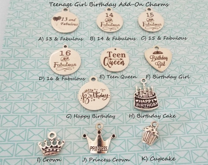 Girl's Birthday Charm Bracelet, Add On Charm for Birthday Girl, 16 and Fabulous, 13 and Fabulous, Gift for Her, Birthday Girl, Birthday Gift