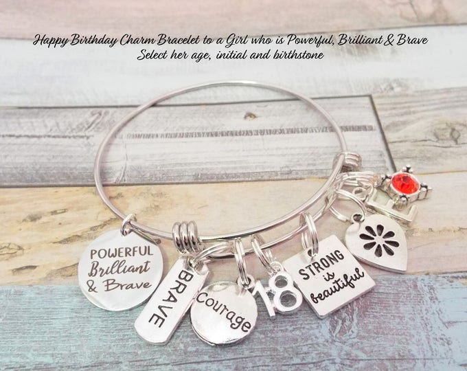18th Birthday Charm Bracelet, Girl's 18th Birthday Gift, 18th Birthday Gift for Girl, Personalized Gift, Custom Jewelry, Birthday Jewelry