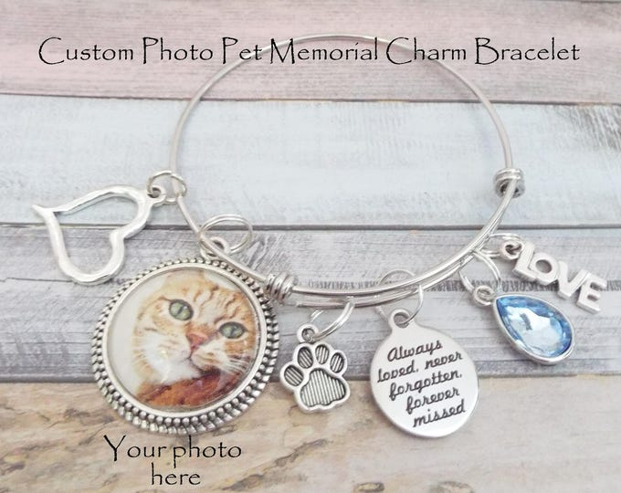 Personalized Pet Memorial Gift, Charm Bracelet, Gift for Loss of Pet, Grief and Mourning Gift, Sympathy Gift for Pet Loss, Sympathy Gift