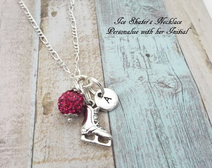 Gift for Ice Skater, Ice Skater Charm Necklace, Skating Jewelry, Personalized Gift, Daughter Birthday, Gift for Her, Custom Jewelry
