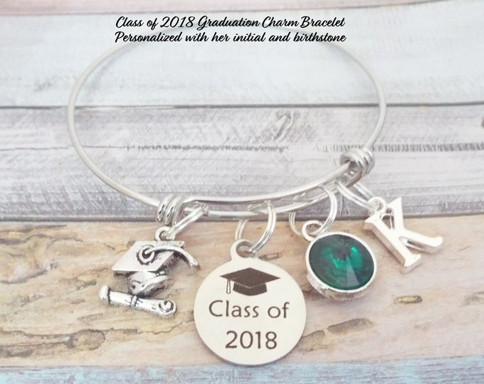 Girl Graduation Gift, Class of 2018, 2018 Graduate Charm Bracelet, Graduation Gift for Her, Daughter Graduation Gift,Graduation Jewelry