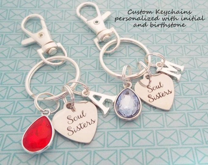 Best Friends Gift, Soul Sister Keychain Set, Girl Gift, Personalized Gift, Custom Keychain, Gift for Her, Girlfriend Gift, Birthday for Her
