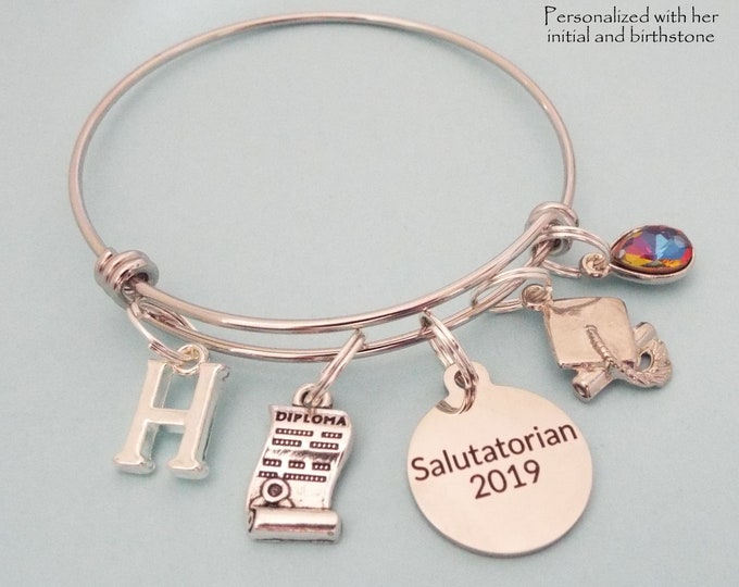 Salutatorian Graduation Gift, Salutatorian Gift for Graduate, Class of 2019 Girl Graduating, Personalized Gift, Custom Jewelry, Gift for Her