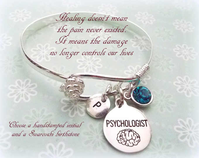 Psychologist Gift, Psychologist Charm Bracelet, Gift for a Psychologist, Personalized Jewelry, Personalized Gift, Gifts for Her, Birthstone