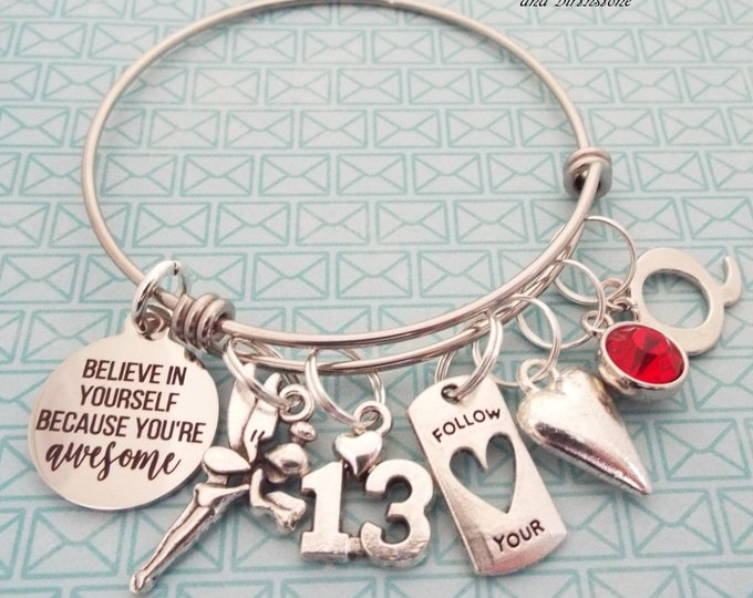 13th Birthday Girl Charm Bracelet, Girl 13 Birthday, 13 Year Old Girl Gift, Personalized Gift, Custom Jewelry, Gift for Her, Teenage Girl