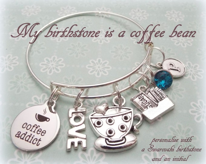 Coffee Lovers Gift, Gift for Coffee Lover, Personalized Gift, Gift for Her, Gift for Best Friend, Best Friend Gift, Coffee Charm Bracelet