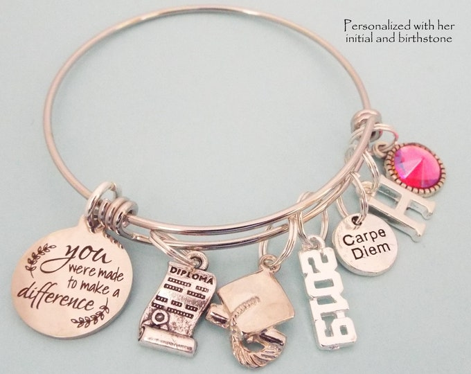 Girl Graduation Gift Charm Bracelet, Personalized Gift for College Woman Graduating, Teacher Graduation, High School Graduation Gifts
