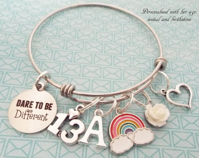 13th Birthday Gift for Girl,  Girl's Birthday Gift, Personalized Gift, Charm Bracelet, Teenage Girl Birthday Jewelry, Gift for Her, Teenager