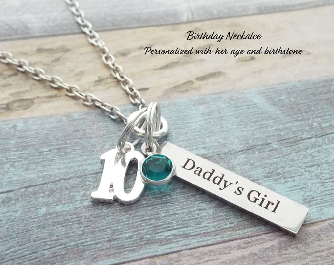 10th Birthday Gift for Daughter, Father to Daughter Gift, 10 Year Old Girl, Birthday for Daughter, Dad Gift, Birthstone Jewelry, Girl Gift