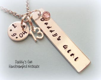 13th Birthday Personalized Name Bar Necklace Jewelry For 13 Year Old Girl Dad To Daughter Gift