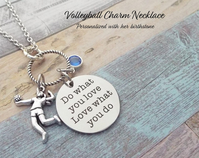 Volleyball Necklace, Personalized Gift, Gift for Girl, Gift for Her, Sports Jewelry, Birthstone Necklace, Coach Gift, Custom Jewelry, Custom