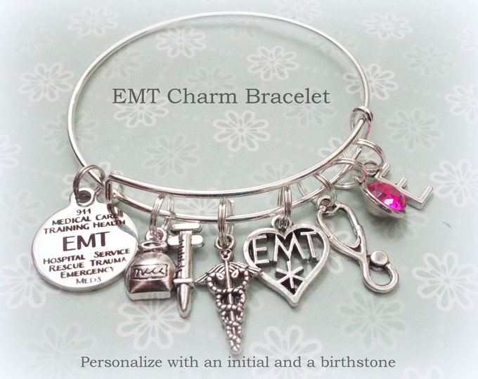 EMT Graduation Gift, Medical Tech Graduate Charm Bracelet, Personalized Jewelry for Women, Gift for Her, Birthstone Jewelry, Girl Graduating