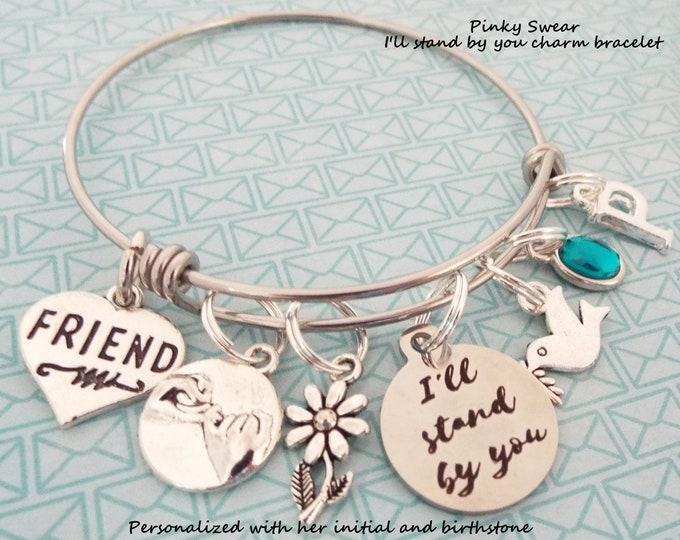 Best Friend Gift, Encouragement Jewelry, Friend's Birthday, Personalized Gift, Custom Charm Bracelet, Birthstone Jewelry, Initial Bracelet