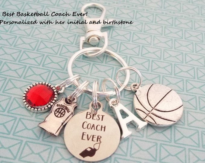 Basketball Coach Custom Keychain, Gift for Coach, Basketball Keychain, Coach Gift, Personalized Gift, Sports Keychain, Sports Gift