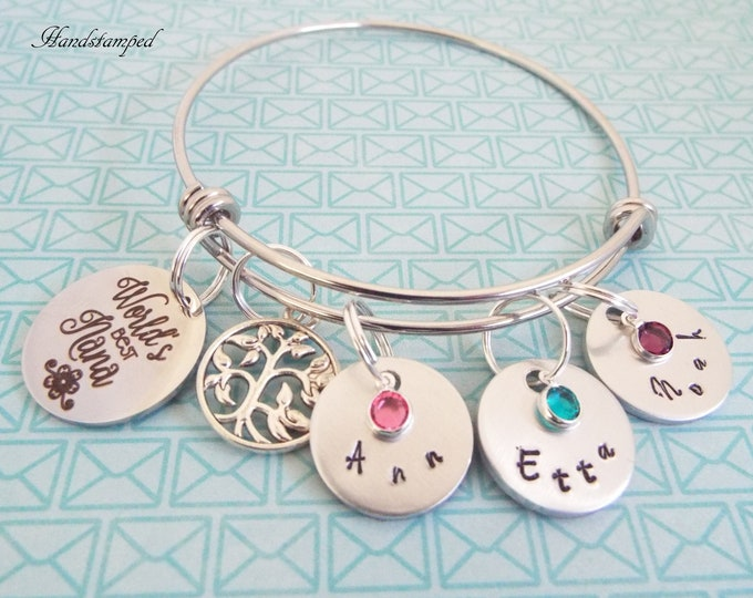 Nana Christmas Gift, Tree of Life Jewelry, Grandmother Gift, Grandchildren Charm Bracelet, Custom Jewelry, Hand Stamped, Birthstone Jewelry