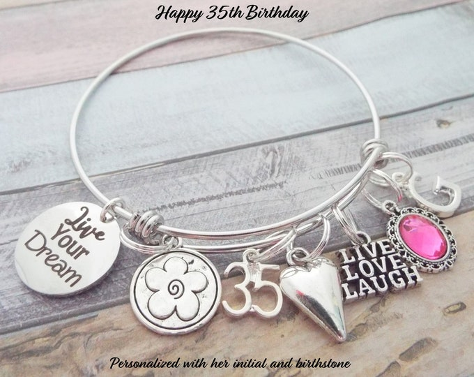 35th Birthday Gift, Women's 35th Birthday, Gift for Woman Turning 35, Women's Birthday Charm Bracelet, Personalized Gift, Gift for Her