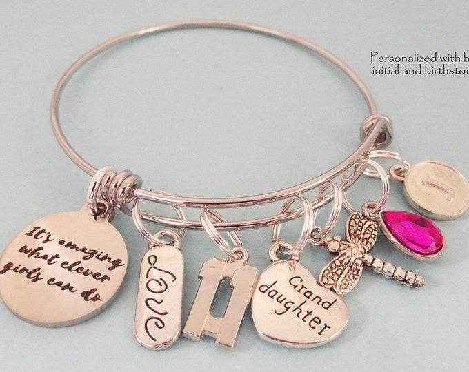 Birthday Charm Bracelet for Granddaughter, Customized Birthday Gift for Girl, Personalized Gift Granddaughter from Grandmother. Gift for Her