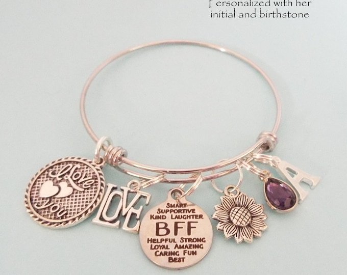 Best Friend Gift, Birthday for Best Friend, Best Friend Charm Bracelet, BFF Charm Bracelet, Birthday Gift for Friend, Best Friend Jewelry