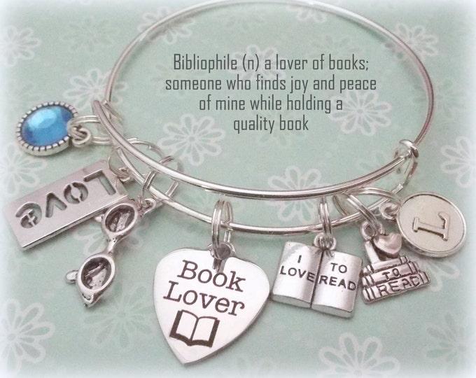 book lover gift, book lover jewelry, personalized jewelry gift, literary gift, birthstone jewelry, initial bracelet, book lover bracelet