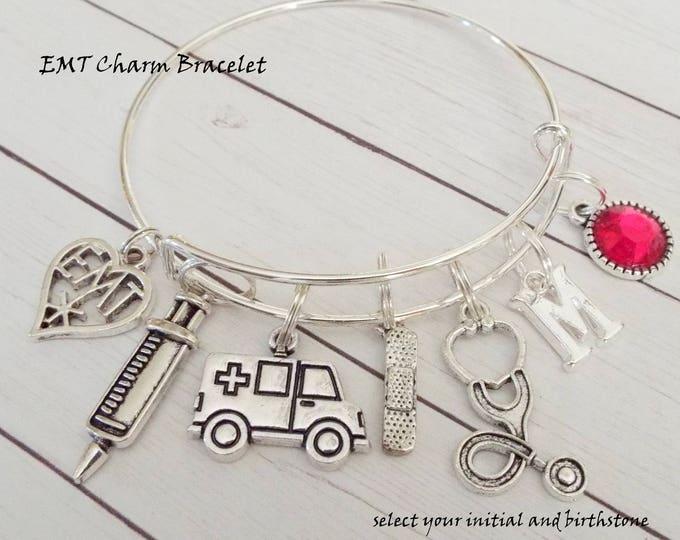 EMT Charm Bracelet, Gift for First Responder, EMT Gift, Birthday Gift for EMT, Emergency Responder Charm Bracelet, Women's Gift