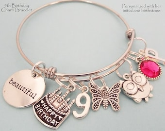 9th Birthday Girl Daughter Personalized Birthstone Charm Bracelet Turning 8 Years Old Gift For Her Granddaughter