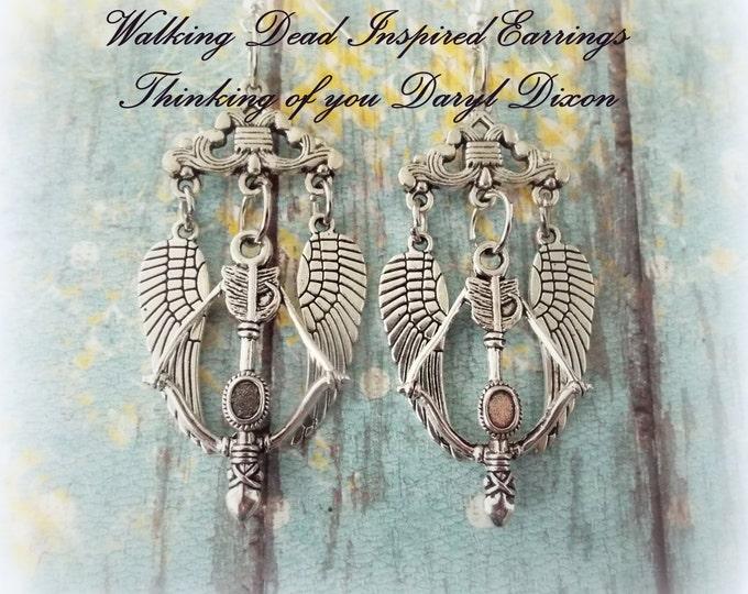 Walking Dead Earrings, Walking Dead Gift, Walking Dead Jewelry, Fan Gifts for Walking Dead Fans, Daryl Dixon Earrings, Gift for Her