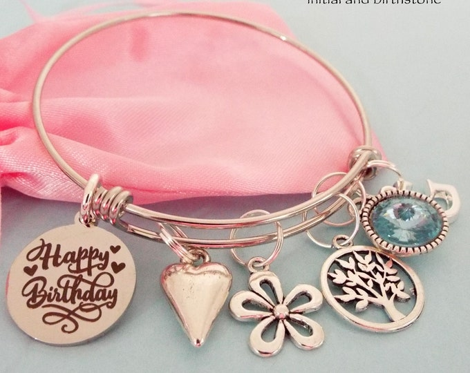 March Birthstone Charm Bracelet, Personalized Birthday Gift for Girls, Women's Birthday, Gift for Her, Girl's March Birthday, Teenage Girl