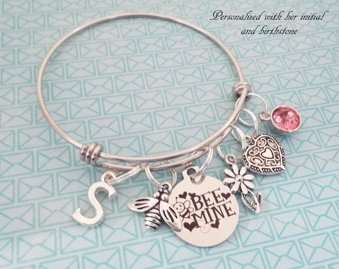 Personalized Valentine's Gift Charm Bracelet, Valentine Kids Girl, Children's Valentine Day Gift, Gift for Her, Birthstone Jewelry,