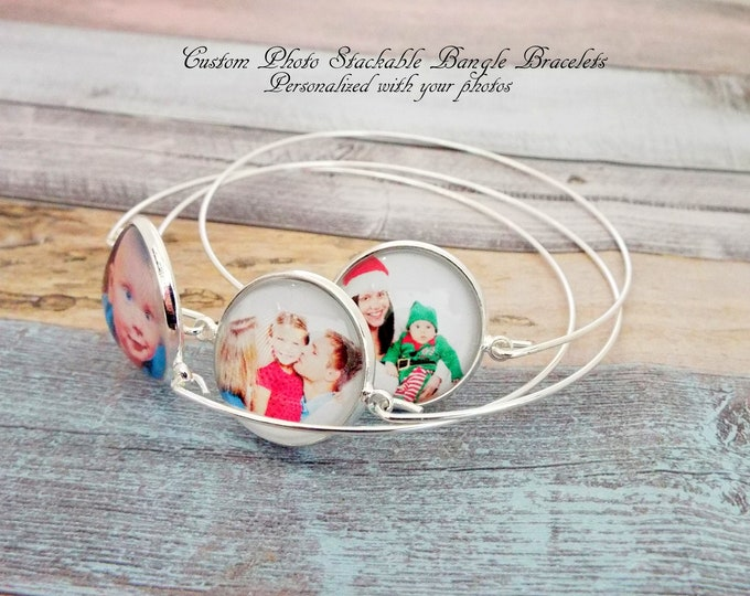 Custom Photo Bangle Bracelet, Personalized Gift, Custom Jewelry, Stackable Bracelets, Grandmother Gift, Gift for Her, Grandchildren Gift