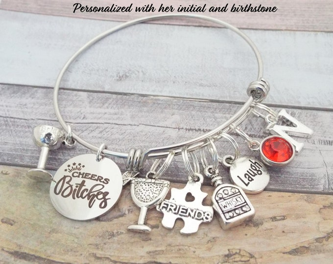 Best Bitches Gift, Best Friend Birthday Gift, Wine Lover's Gift, Cheers Bitches Charm Bracelet, BFF Gift, Gift for Bestie, Bestie Birthday