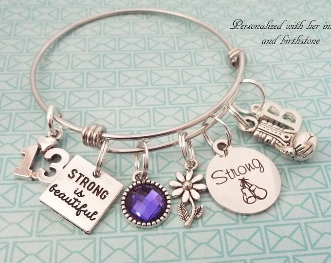 Girl Birthday Charm Bracelet, Personalized Gift, Gift for Her, Teenage Girl Gift, Teenager Birthday, Silver Bracelet, Birthstone Gift