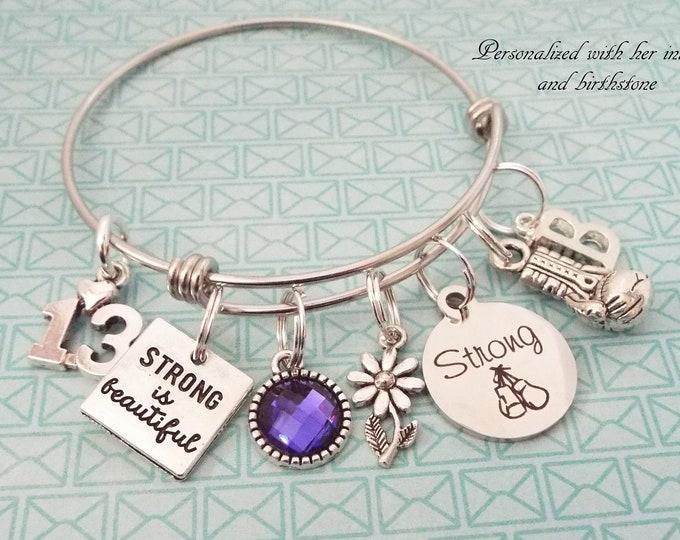 Girl Birthday Charm Bracelet, Personalized Gift, Gift for Her, Teenage Girl Gift, Teenager Birthday, Silver Bracelet, Birthstone Gift