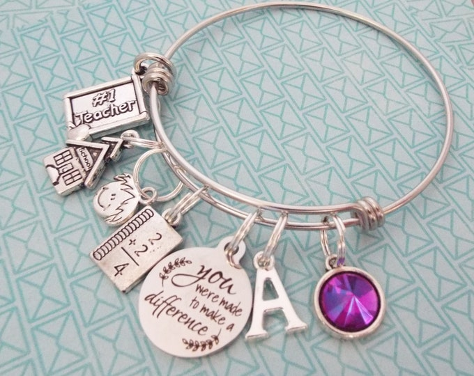 Gift for Teacher, Personalized Teaching Charm Bracelet, Graduation for Her, Birthstone Initial Custom Jewelry, Gift for Woman, Student