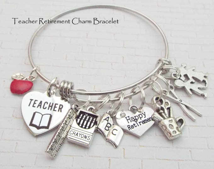 Teacher Retirement Gift, Teacher Thank You, Personalized Gift, Custom Jewelry, Gift for Her, Student Gift, Women's Jewelry, School Gift