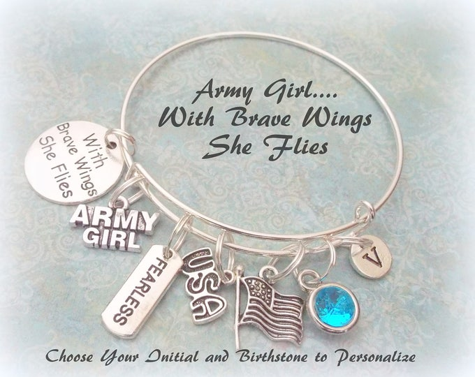 Army Girl Charm Bracelet, Personalized Initial and Birthstone Jewelry for Army, Patriotic Jewelry, Gift for Her, Armed Services Gift Idea