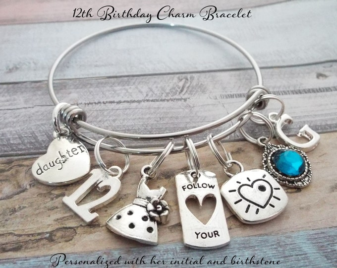 12th Birthday Gift for Girl, Gift for 12 Year Old, Girls Birthday Charm Bracelet Gift, Birthday Gift Daughter, Personalized Birthday Gift