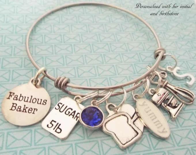Personalized Cook Gift, Chef Charm Bracelet, Baker Gift, Gift for Her, Custom Jewelry, Silver Bracelet, Birthday for Her, Foodie Gift