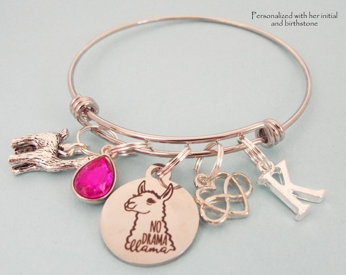 Personalized Llama Charm Bracelet, Birthday Girl Gift,  Birthstone Jewelry, Initial Bracelet, Custom Jewelry Gift, Customized Gift for Her