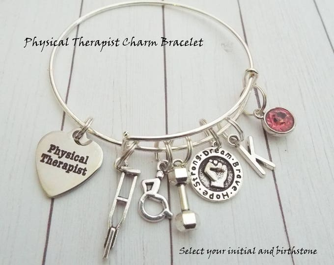 Physical Therapist Charm Bracelet, Gift for Physical Therapist, Custom Jewelry Gift for Physical Therapist, Graduation Gift Therapist