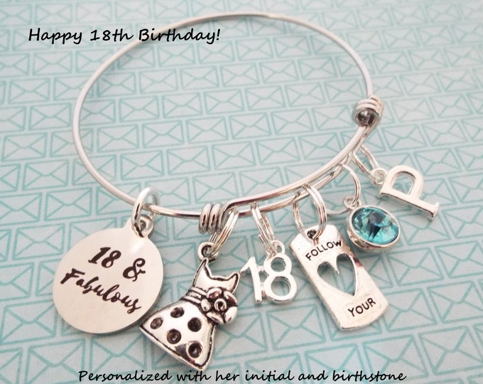 18th Birthday Girl Gift, Gift for Girl's 18th Birthday, Teenage Girl Gift, Personalized Gift, Girl Turning 18 Charm Bracelet, Gift for Her