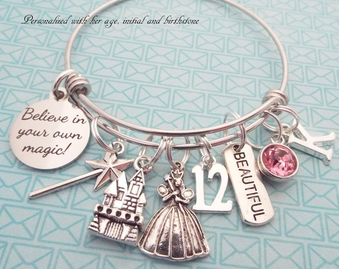 12th Birthday Girl, Girl's Birthday Charm Bracelet, Princess Jewelry, Child Gift Girl, Personalized Gift, Gift for Her, Custom Jewelry