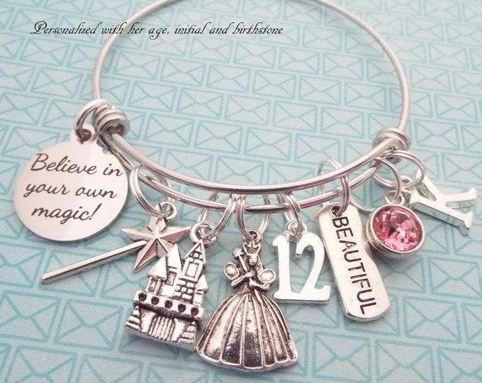 12th Birthday Girl, Girl's Birthday Charm Bracelet, Princess Jewelry, Child Gift Girl, Personalized Gift, Gift for Her, Custom Jewelry
