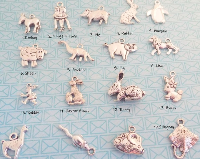 Animal Charm, Add on Charms, Charm Bracelets, Gift for Her, Personalized Gift, Custom Jewelry, Birthday for Her, Jewelry for Her, Bracelets